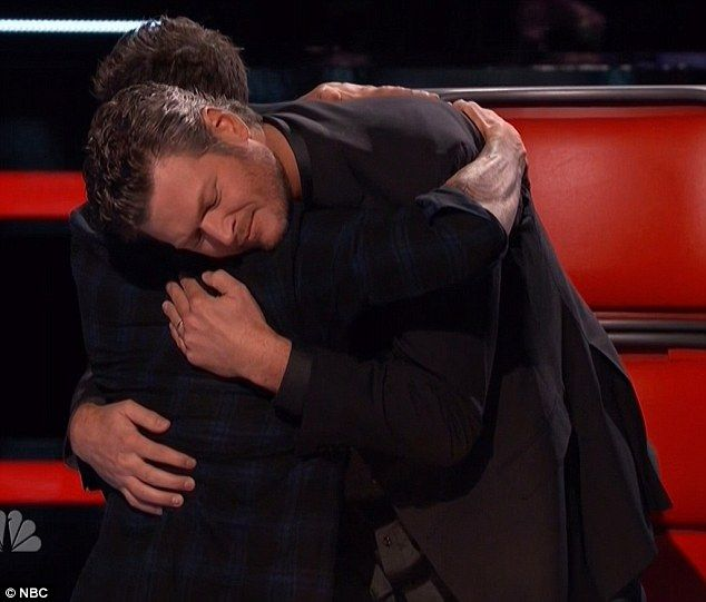 Hugging it out: Blake and Adam gave each other a hug as they were getting along...