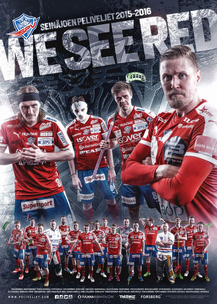 Finnish Floorball team SPV season poster (50x70cm). AD, design, layout and photo manipulation by Mika Tervaskangas / Therwiz Design. Salibandyjoukkue SPV Seinäjoen peliveljet juliste ulkoasu, suunnittelu, kuvankäsittely, photoshop Mika Tervaskangas / Therwiz Design. Kuvaus Tuukka Kiviranta. Print Forsberg. #MikaKohonen #MikkoKohonen #salibandy #floorball #sport #teamphoto #SPV #Peliveljet #Therwiz #TherwizDesign
