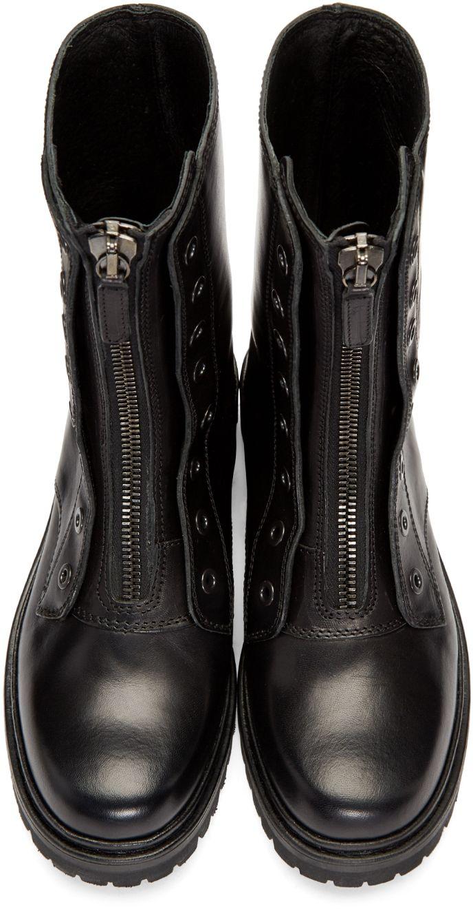 Diesel Black Gold: Black Military Combat Boots | SSENSE
