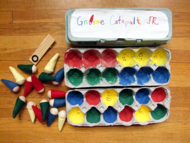 """Gnome Catapult - super cute and a great """"quiet"""" game for kids to play sitting at a table"""