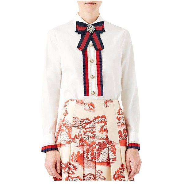 Gucci Cotton Poplin Shirt ($1,400) ❤ liked on Polyvore featuring tops, blouses, white, white round collar shirt, bow blouses, round collar shirt, white shirt and bow shirt
