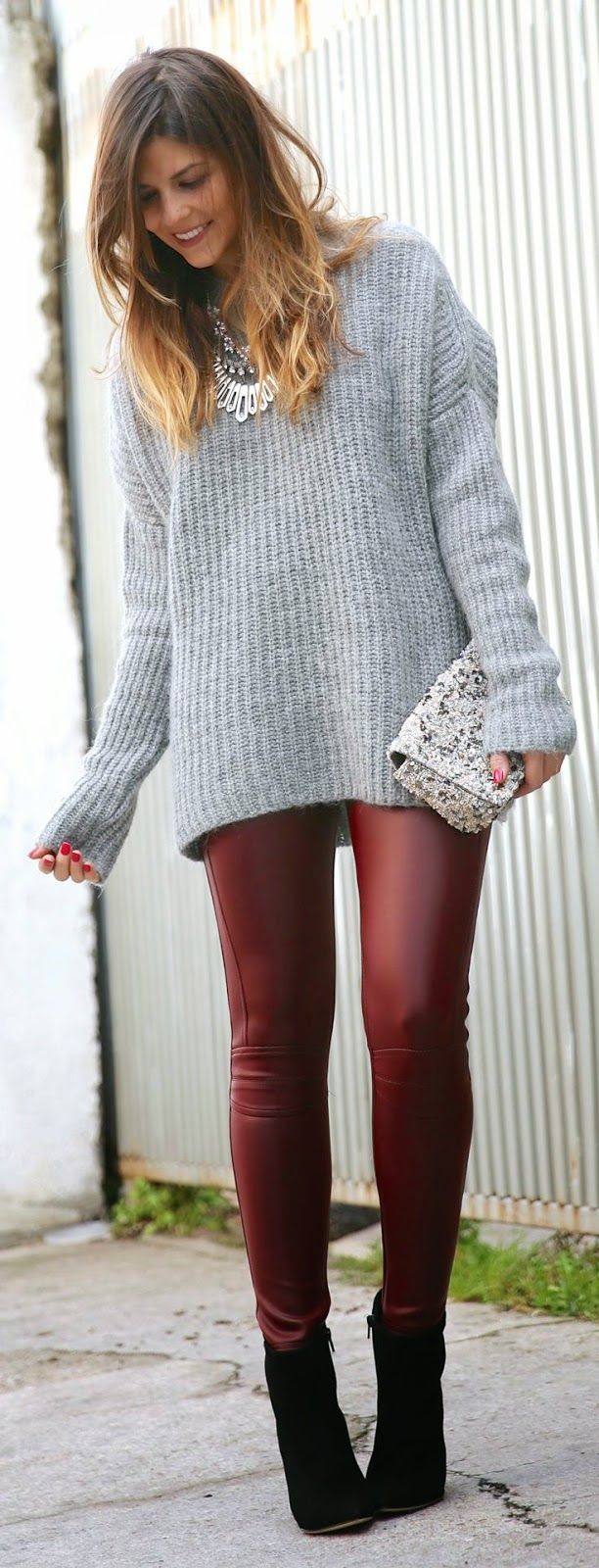 Burgundy Leather Leggings with Grey Oversized Sweater and Black Long Booties | TrendyTaste