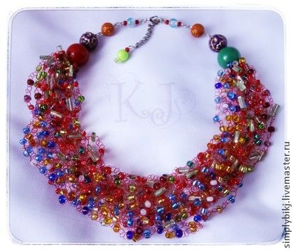 """Колье """"Ягодное настроение"""" - ягоды,ягодное колье,воздушное колье,летнее украшение. Multistrand Bead Crochet Necklace. Beadwork Necklace."""