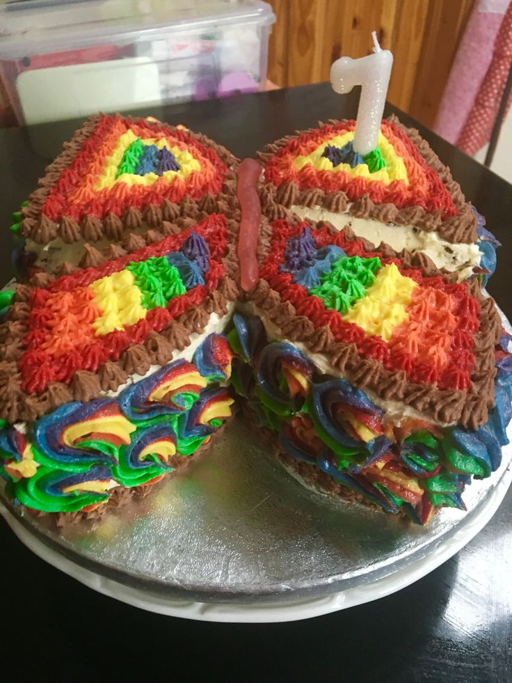 Rainbow butterfly shaped cake. Hannah's 7th birthday