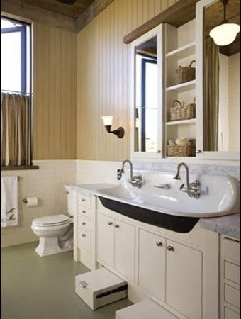"""They say they're """"toe-kick drawers"""" but they could be stools for little ones too. Love the sink."""