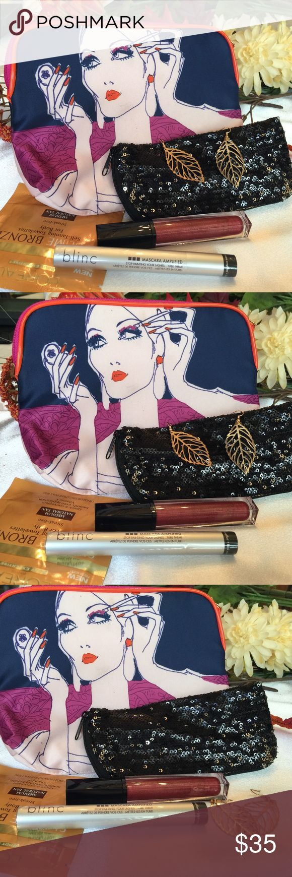 Mary's Subscription Box NWOT I am addicted to subscription boxes so am making one for you. Not really subscription just (1). Ester Lauder make-up bag• Estée Lauder Pure Color Envy lipstick in Flirtatious Magenta• blinc mascara amplified in black• Glitzy glass case or make-up case for your evening bag• L'Oréal Sublime Bronze self-tanning towelettes for body in medium natural tan• Gold Leaf Euro wire earrings. 🎀🎀 Boutique Makeup