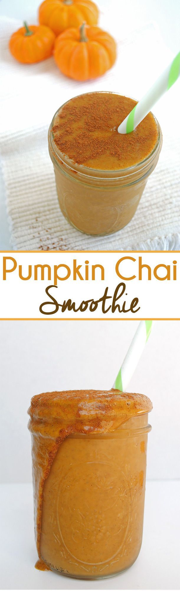 This Pumpkin Chai Smoothie is sweet with a hint of chai spice and great for a snack or healthy dessert! It's filled with all the warm fall flavors.