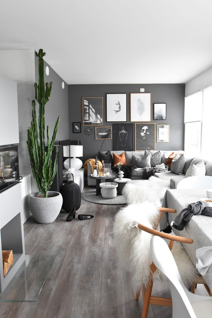 Dark grey black wall living room idea with indoor plants and amazing wall art