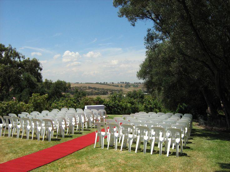 Ceremony setup on back lawn area