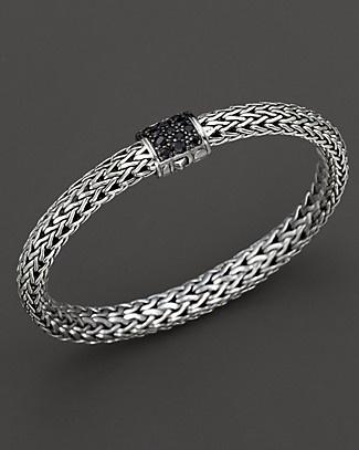 Fab John Hardy bracelet- sterling silver w/ black Sapphires