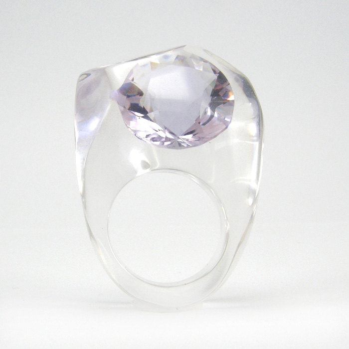 "Clear resin ring with large Zirconia, Light Violet Zirconia Ring. 50$, via Etsy. by ""sisicata"" (Sylwia Calus, Warsaw, Poland)"