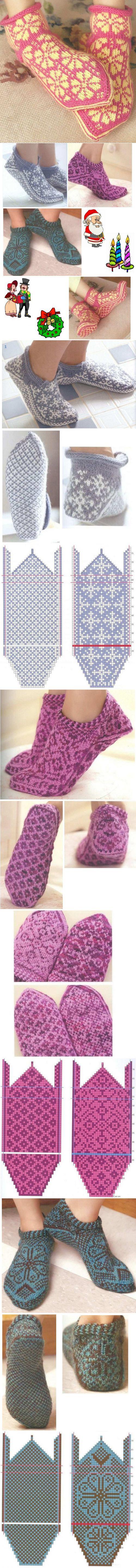 схемы вязания носков жаккардом