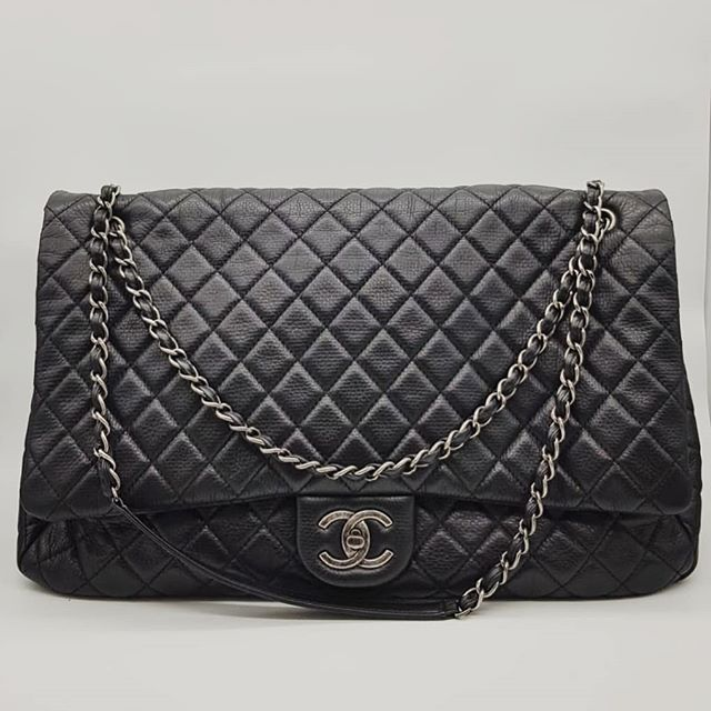 4900 Wire Preloved Chanel Xxl Airline Classic Flap Bag Black Calfskin Ruthenium Hardware Serial Code Starting With 223 Measuri Classic Flap Bag Flap Bag Bags