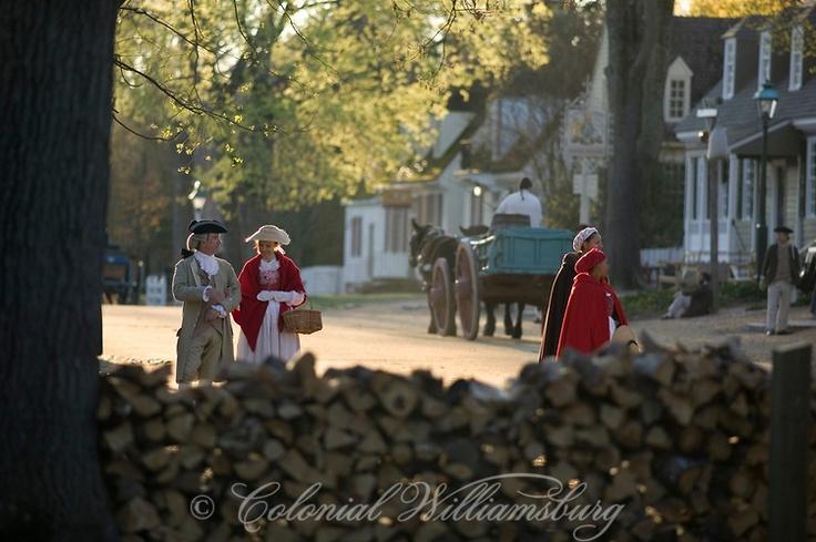 Colonial street scene in Colonial Williamsburg's Historic Area. Williamsburg, Virginia.