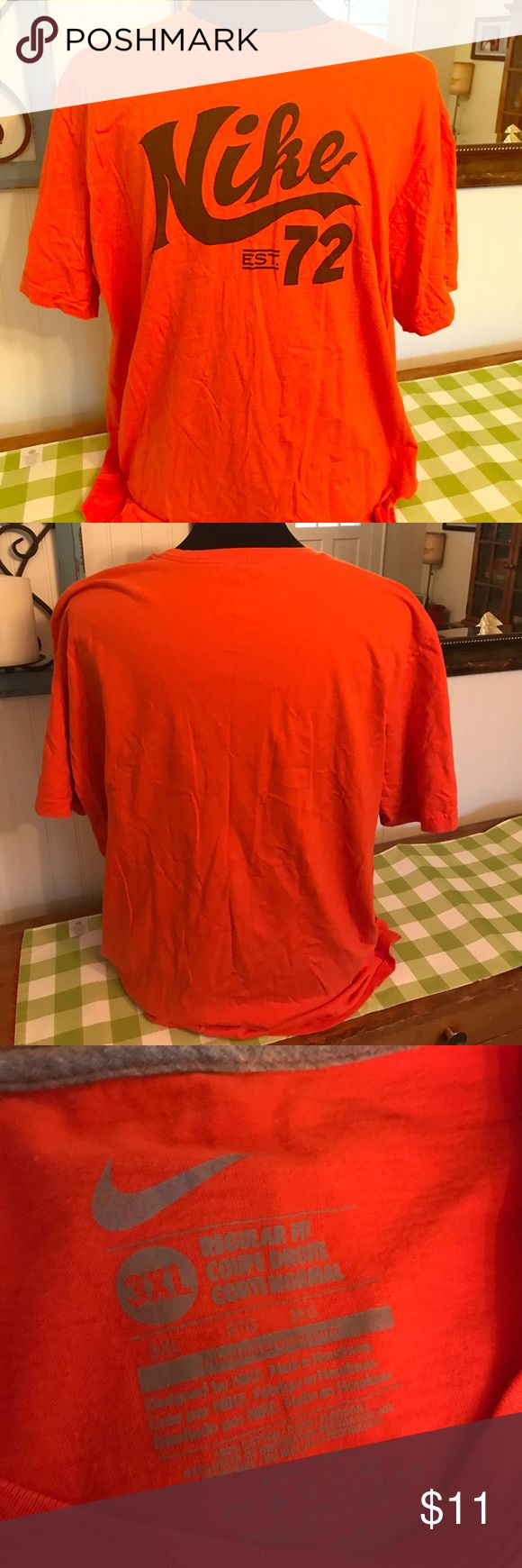 Orange Nike 72 T Shirt Men's 3XL Big Tall Tee Shirt is in very good gently worn condition! Very nice color that pairs well with blue basketball pants or shorts!   Size 3XL   From a smoke & pet free home!  I have lots of Big & Tall clothes listed so please check out my closet! Nike Shirts Tees - Short Sleeve