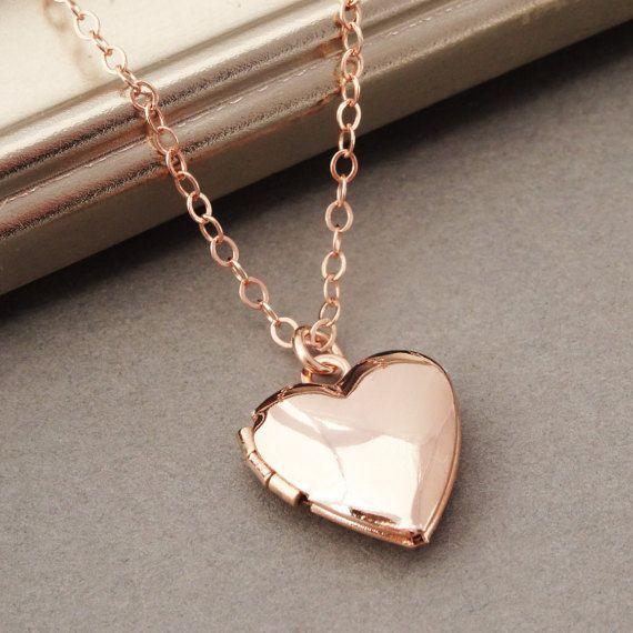Rose Gold Locket Necklace, Heart Locket Necklace in Rose Gold, Rose Gold Heart Locket, Wedding Jewelry, Bridal Jewelry, Bridesmaid Necklace