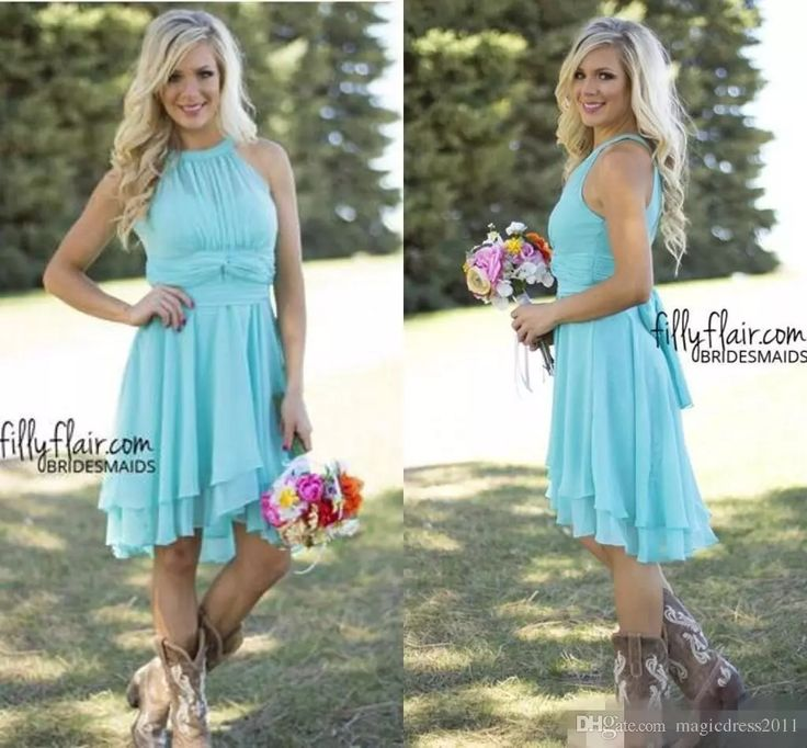 2017 Country Style Short Bridesmaid Dresses Watermelon Royal Blue Light Blue High Low Cheap Halter Neck Ruched Backless Summer Boho Dresses Wedding Gowns Weeding Dress Bridemaid Dresses Online with $86.0/Piece on Magicdress2011's Store | DHgate.com