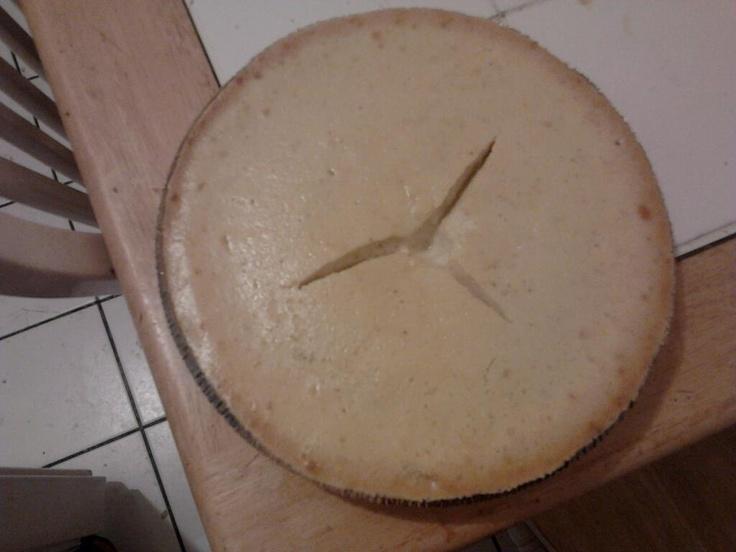 EGGNOG CHEESECAKE. 16 oz cream cheese. 1/2 cup sugar. 2tbsp flour. 1/4 tsp salt. 1/2 tsp nutmeg. 2tbsp vanilla (or dark rum). 3/4 cup eggnog (I prefer Silk Eggnog). 2 eggs. Combine dry ingredients in bowl. Add wet ingrediets. Mix until smooth. Pour into 9 inch grahm cracker crust. Bake 30-35 minutes.