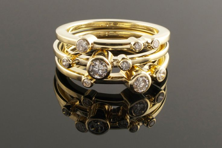 Three stacking yellow gold and diamond rings | Eva Dorney Goldsmith