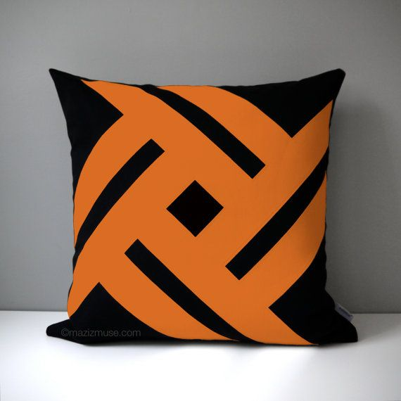 Black & Orange Indoor Outdoor Pillow Cover Modern by Mazizmuse