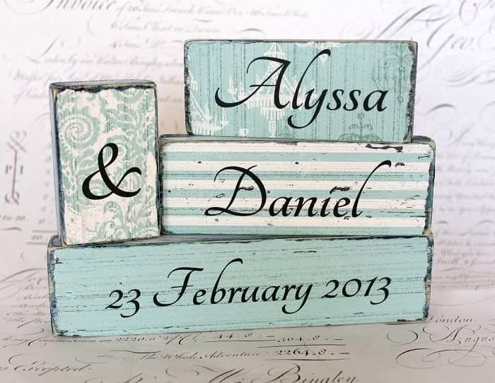 Custom Wedding, Engagement or Anniversary Word Block Set   CROSSyourHEART   madeit.com.au