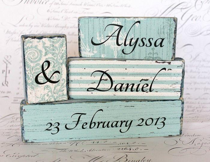 Custom Wedding Word Block Set - by CROSSyourHEART on madeit