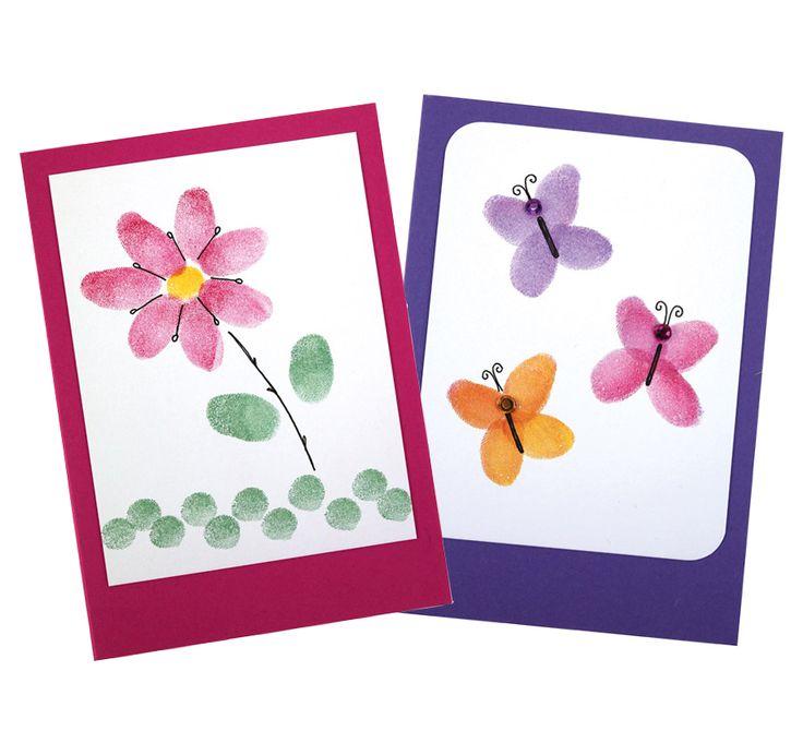 Versa Color-leimasintyynyjen avulla sormileimailtuja kortteja. Tarvikkeet ja ideat Sinellistä!
