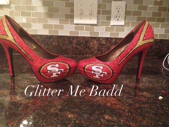 49ers inspired glitter High heel by Glitter Me Badd #49ers #sanfrancisco