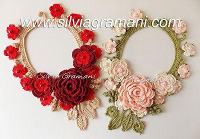 Silvia Gramani Crochê: Colares de Crochê com Flores