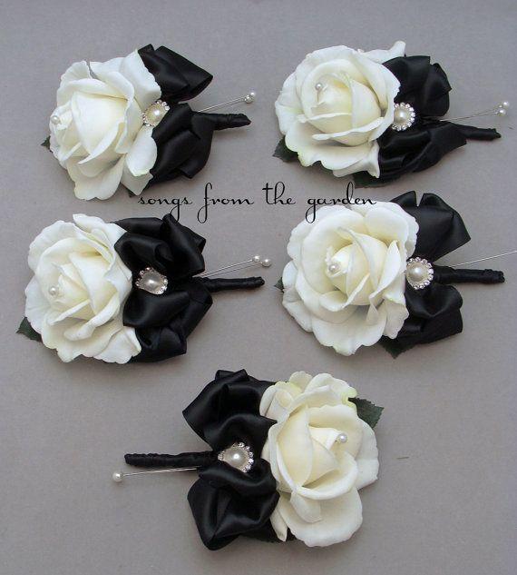 Black & White Real Touch Rose Wedding by SongsFromTheGarden, $75.00