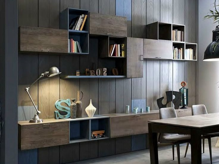 Sectional wall-mounted lacquered storage wall 5PUNTO7 | Lacquered storage wall - Shake