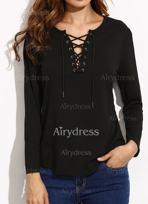 T-shirts - $18.97 - Cotton Solid Round Neck Long Sleeve Casual T-shirts & Vests (1685124547)