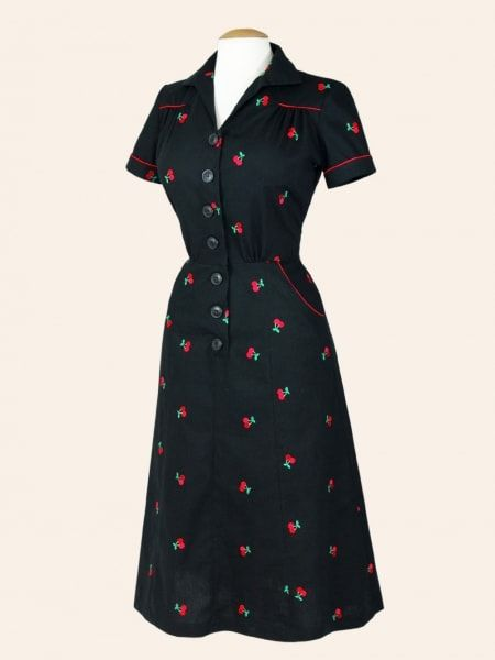 1940s Style Tea Dress Embroid Cherry Black from Vivien of Holloway