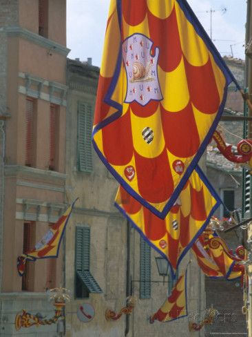 Flags and Lamps of the Chiocciola Contrada in the Via San Marco During the Palio, Siena, Italy Photographic Print by Ruth Tomlinson at AllPosters.com