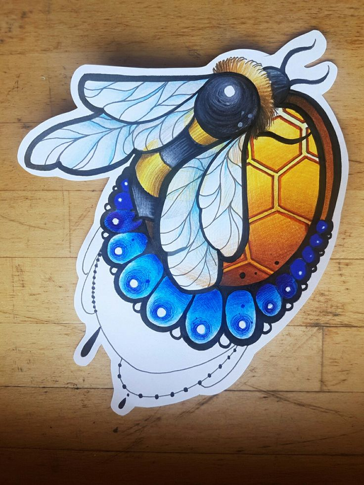 #bee #honey #neo #traditional #new #traditional #tattoo #design