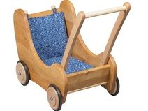 Lauflern-Puppenwagen mit Bremse u. blauem Kissen