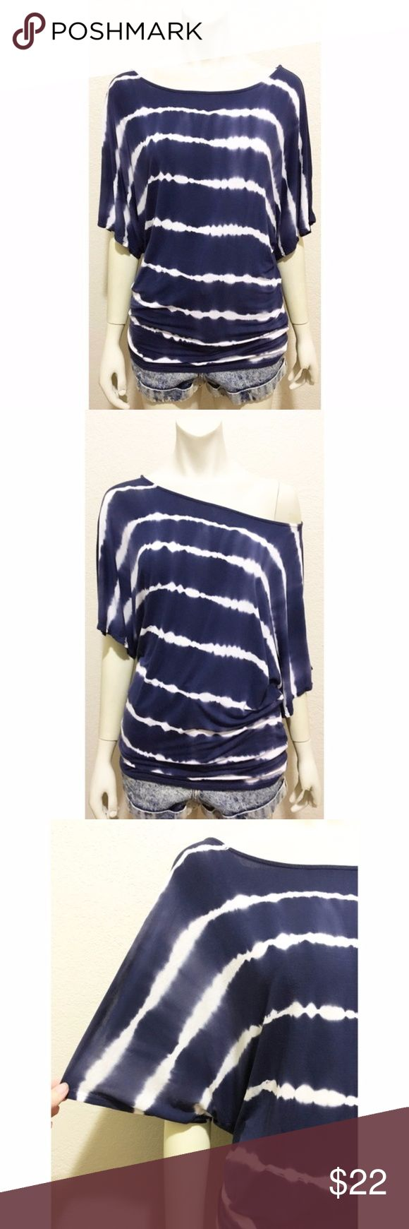 Michael Stars OSFM Blue & White Tie-Dye Batwing T Good used condition navy blue and white tie-dyed tunic t-shirt by Michael Stars. One size fits most. Super soft and stretchy jersey knit feel. 95% rayon/5% spandex. For reference my mannequin is a size 4. I am an 18 and it fits. I would recommend for sizes S-XL. Batwing sleeves with an oversized boatneck. You can wear this off one shoulder if you like. Very small hole on left shoulder. Very little pilling. All measurements are approximate and…