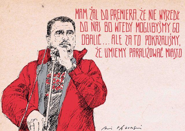 Duda: gdyby tylko Tusk wyszedł do nas... - z galerii Pągowski wirtualnie. Galeria prac Andrzeja Pągowskiego - Musimy pójść za ciosem, jeśli ten rząd będzie nadal podchodził z taką butą i arogancją do obywatela, to na tej sobocie nie możemy skończyć - mówił Piotr Duda w trakcie manifestacji na placu Zamkowym. Spotkanie trzech grup protestujących, którzy maszerowali w kierunku placu Zamkowego było zwieńczeniem Ogólnopolskich Dni Protestu. Według służb porządkowych w manifestacjach wzięło…