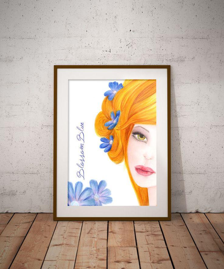 Spring decor, Blue flowers Digital art, Wall Decor, Wall Art, Pink decor, Printable art, Girls room decor, Instant download, Fine art prints by DreamBigArtDesign on Etsy