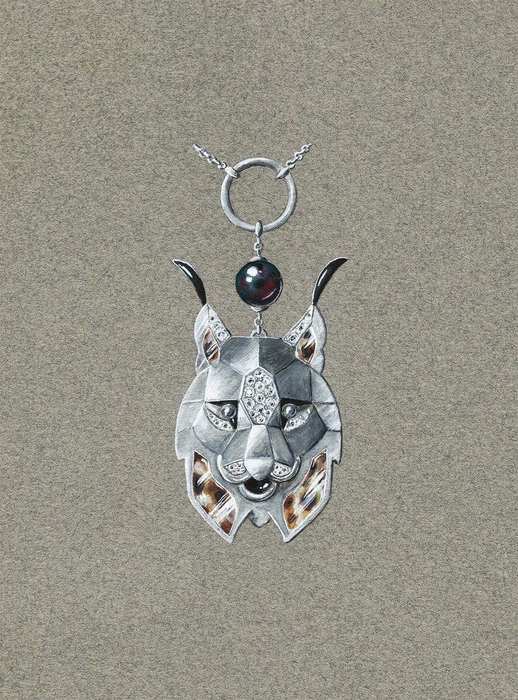 Tony FURION : Collier ' Lynx ' Gouaché Joaillerie Jewel rendering