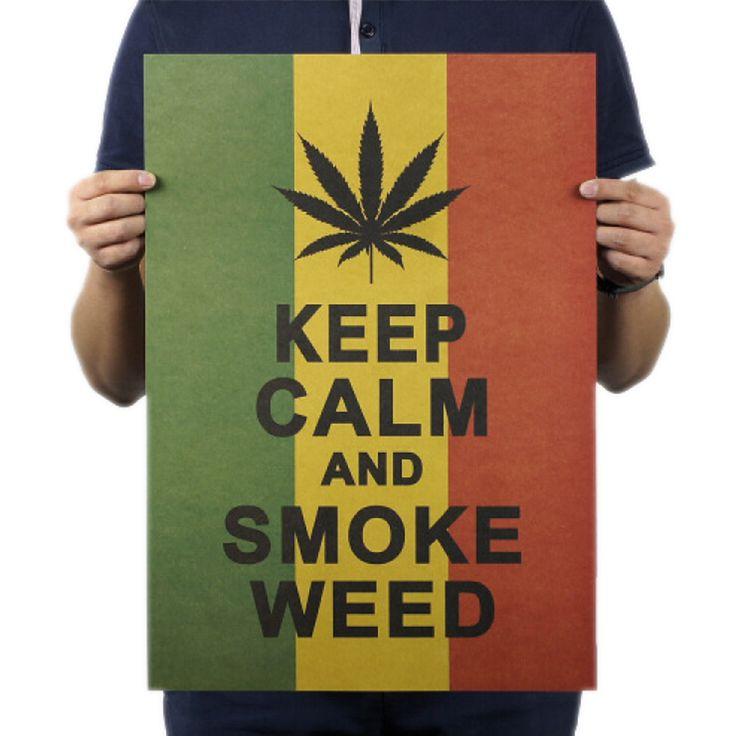 35.5 cm Motivational Keep Calm Smoke Weed Jamaican Reggae Style Kraft Paper Poster Warning Caution Sticker  Sticker Home Decor #Affiliate