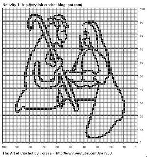 Free Filet Crochet Charts and Patterns: Filet Crochet Nativity Scene - Chart 1