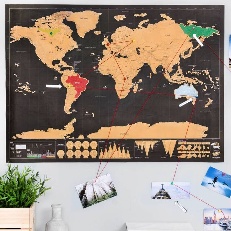 Deluxe Scratch Off u0027Push Pin World Map