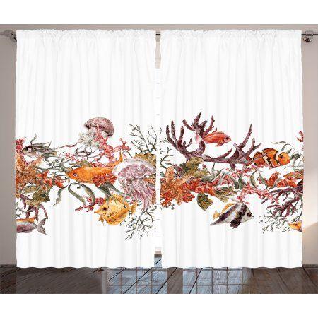 Spectacular Ocean Life Curtains Panels Set Illustration with Fish Seaweed Starfish Coral Algae Jellyfish Sea