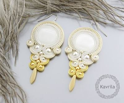 K Avril - Jewellery author. soutache Vanilla Yellow Earrings. earrings 8cm
