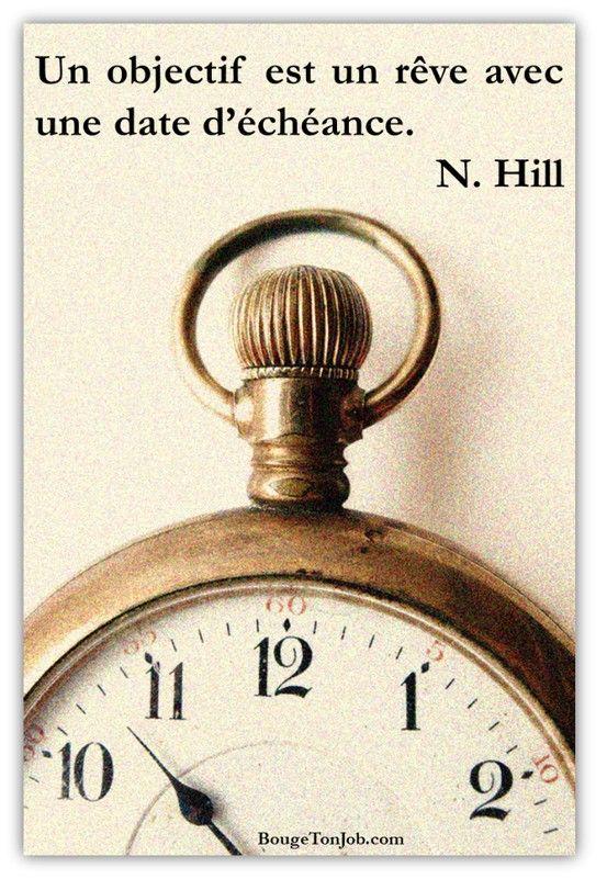 La différence entre un rêve et un objectif ? Le délai. Citation de N. Hill