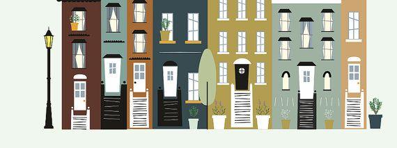 laminas decorativas laminas casas laminas por Ilustracionymas