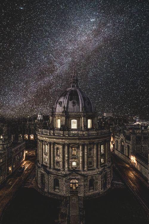 Oxford University under the winter Milky Way