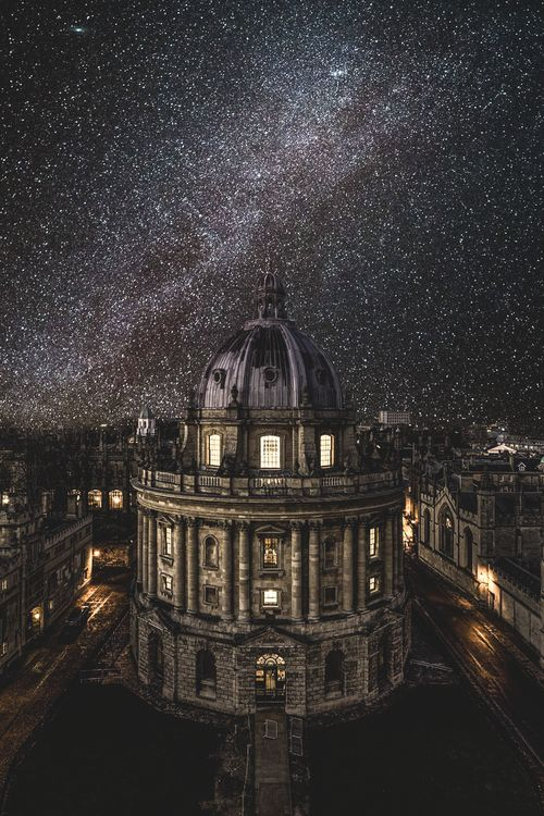 Oxford University under the winter Milky Way