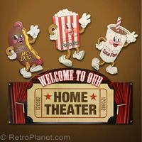 Home Theater Welcome Dancing Snack Signs Set